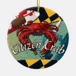 Citizen Crab of Maryland Double-Sided Ceramic Round Christmas Ornament