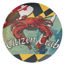 Citizen Crab of Maryland Melamine Plate