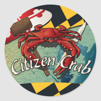 Citizen Crab of Maryland Classic Round Sticker