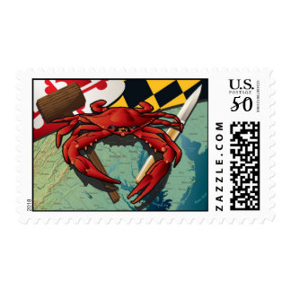 Citizen Crab with mallet and knife Postage