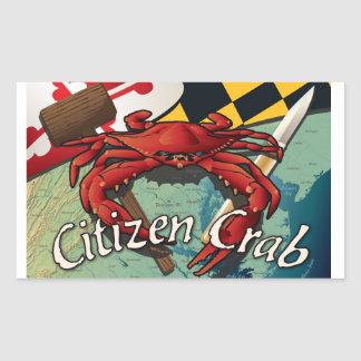 Citizen Crab with mallet and knife Rectangular Sticker