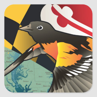 Citizen Oriole, Maryland's State Bird Square Sticker