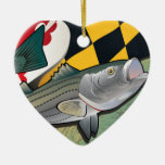 Citizen Rockfish of Maryland Double-Sided Heart Ceramic Christmas Ornament
