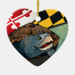 Citizen Terrapin, Maryland's Turtle Double-Sided Heart Ceramic Christmas Ornament