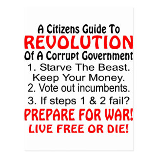 Citizens Guide To Revolution Of Corrupt Government Post Cards