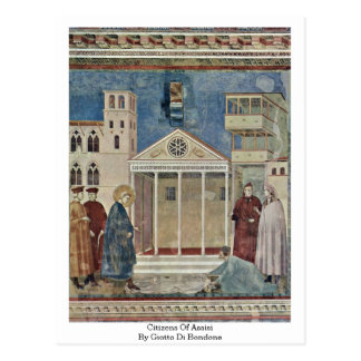 Citizens Of Assisi By Giotto Di Bondone Post Card