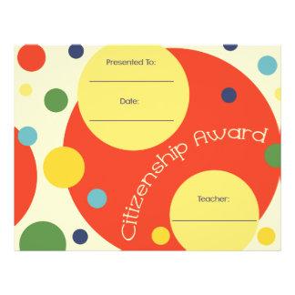 Citizenship Award Certificate - Polka Dots Letterhead