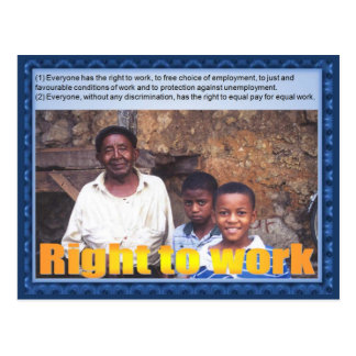 Citizenship, Human rights, right to work Postcard