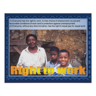 Citizenship, Human rights, right to work Poster