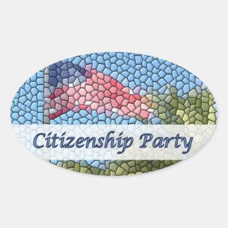 Citizenship Party  USA Flag Mosaic Oval Sticker
