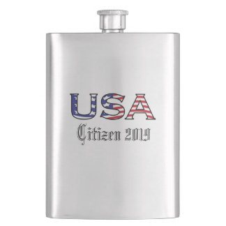 Citizenship Year USA Stars and Stripes Hip Flask