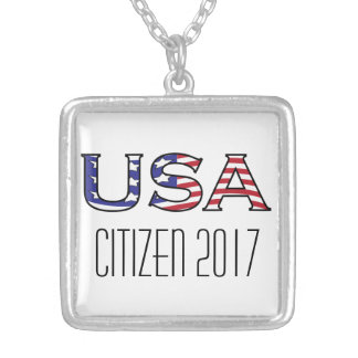 Citizenship Year USA Stars and Stripes Square Pendant Necklace