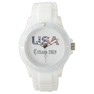 Citizenship Year USA Stars and Stripes Wrist Watch