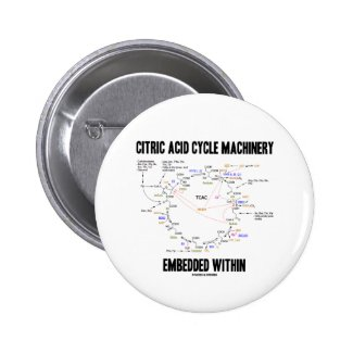 Citric Acid Cycle Machinery Embedded Within Krebs Pinback Button
