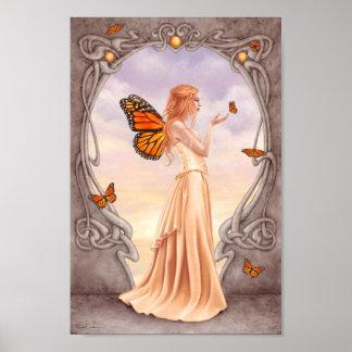Citrine Birthstone Fairy Art Poster Print