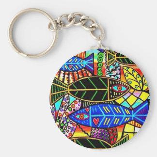 Citrine Coral Fish Basic Round Button Keychain