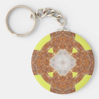 Citrine Cross Design! Basic Round Button Keychain