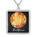 Citrine Orange November Birthstone Name Square Pendant Necklace