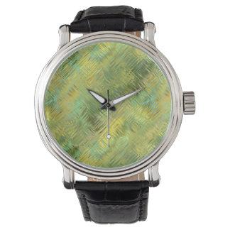 Citrine Yellow Glassy Texture Wrist Watch