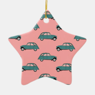 Citroen 2CVs - Green on Pink - Cars Ceramic Ornament