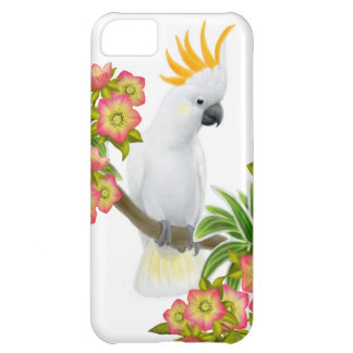 Citron Crested Cockatoo in Flowers iPhone Case