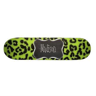 Citron Green Leopard; Vintage Chalkboard Skateboard