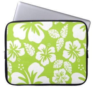 Citron Green Tropical Hibiscus Computer Sleeve