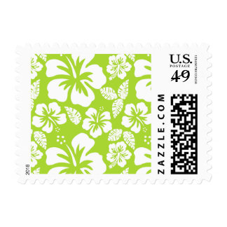 Citron Green Tropical Hibiscus Stamps