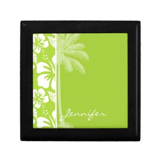 Citron Green Tropical Hibiscus; Summer Palm Keepsake Box