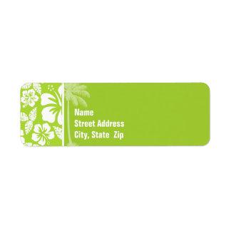 Citron Green Tropical Hibiscus; Summer Palm Return Address Labels