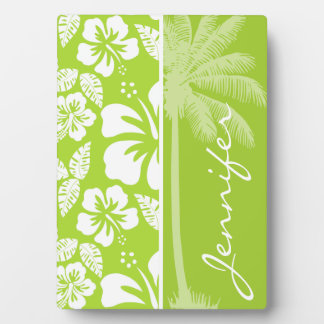 Citron Green Tropical Hibiscus; Summer Palm Plaque