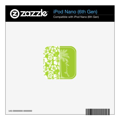 Citron Green Tropical Hibiscus; Summer Palm iPod Nano Decals