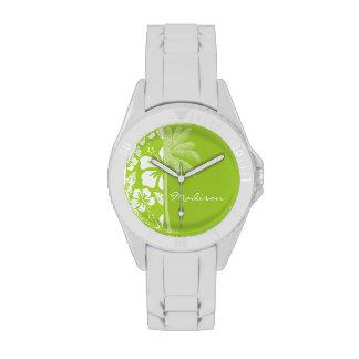 Citron Green Tropical Hibiscus; Summer Palm Wrist Watch