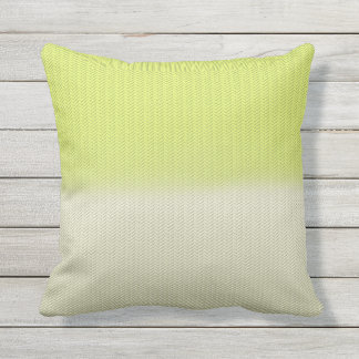 Citron Lime Green and Dusty Cream Herringbone Outdoor Pillow