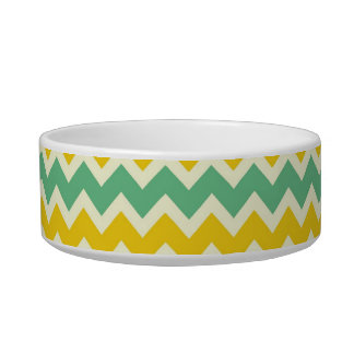 Citrus and Lime Chevron Yellow Green Zigzags Bowl
