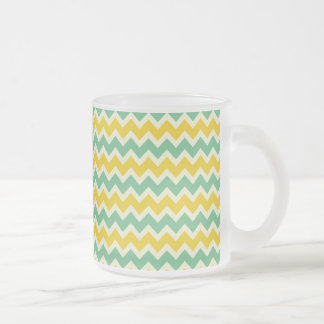 Citrus and Lime Chevron Yellow Green Zigzags Frosted Glass Coffee Mug