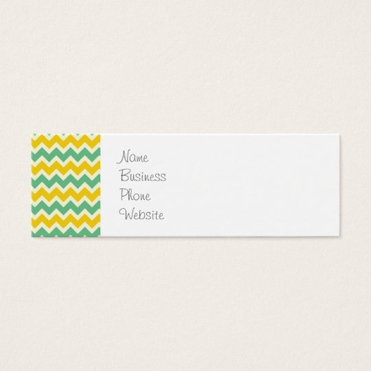 Citrus and Lime Chevron Yellow Green Zigzags Mini Business Card