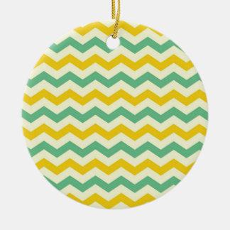 Citrus and Lime Chevron Zigzags Yellow Green Ceramic Ornament