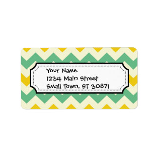Citrus and Lime Chevron Zigzags Yellow Green Label