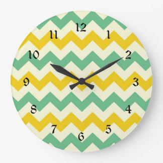 Citrus and Lime Chevron Zigzags Yellow Green Large Clock