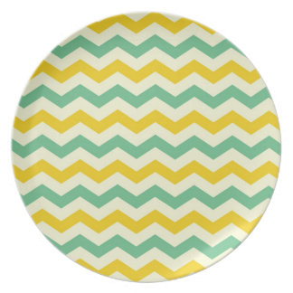 Citrus and Lime Chevron Zigzags Yellow Green Dinner Plates
