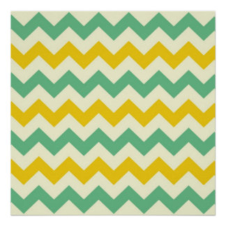 Citrus and Lime Chevron Zigzags Yellow Green Poster