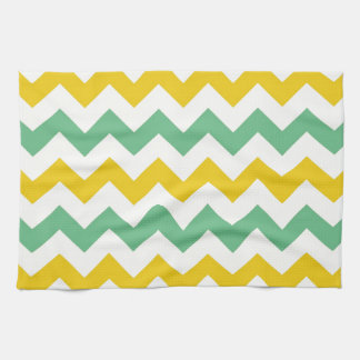 Citrus and Lime Chevron Zigzags Yellow Green Towel