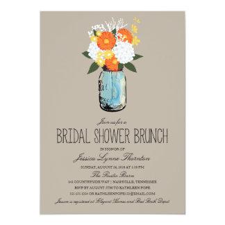 Citrus Bloom Mason Jar   Bridal Shower Brunch 5x7 Paper Invitation Card