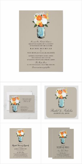 Citrus Bloom Mason Jar Wedding Invite Set