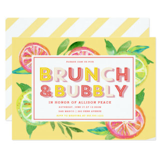 Citrus Brunch and Bubbly Shower Invitation