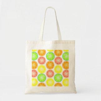 Citrus Fruit Print - Lemon Lime Orange Grapefruit Canvas Bag