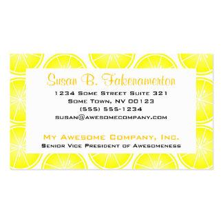 Citrus Fruit Print - Sliced Lemons Double-Sided Standard Business Cards (Pack Of 100)