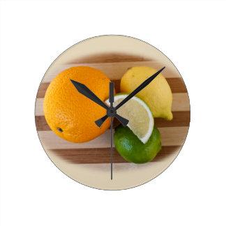 Citrus Fruit Round Clock