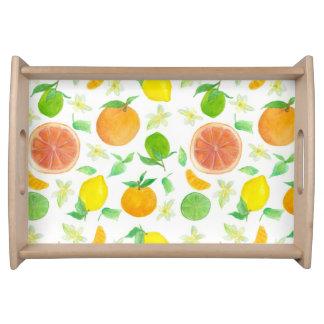 Citrus Fruit Serving Tray Grapefruit Lemon Art